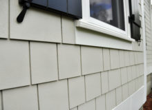 Close up of beige siding on house